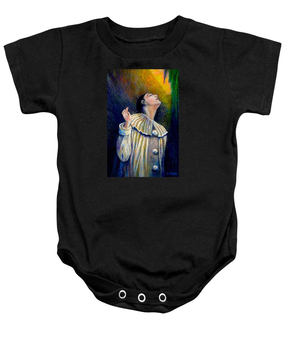 Clown Baby Onesie featuring the painting Pierrot's Peering Into The Light by Michael Durst