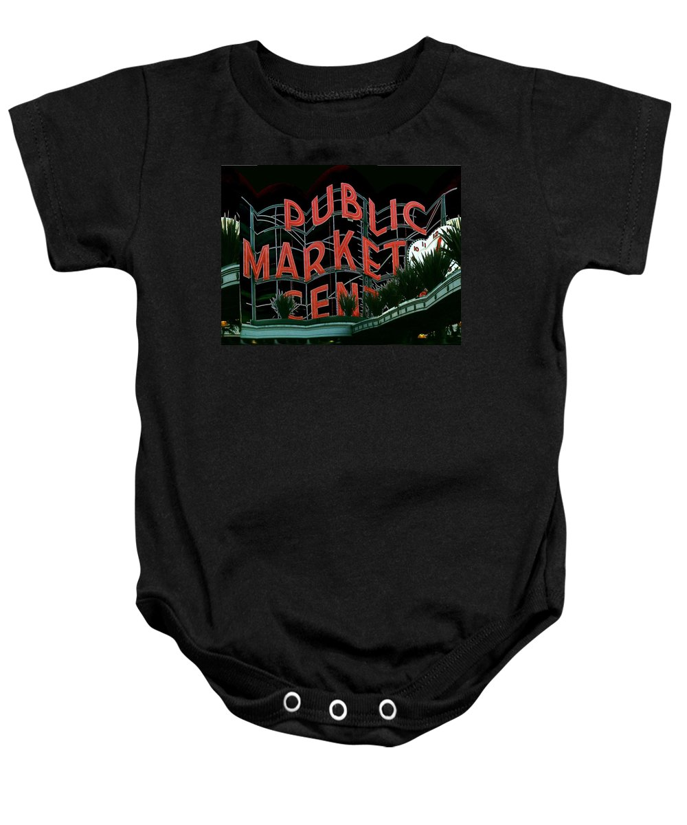 Seattle Baby Onesie featuring the digital art Pike Place Market Entrance 5 by Tim Allen