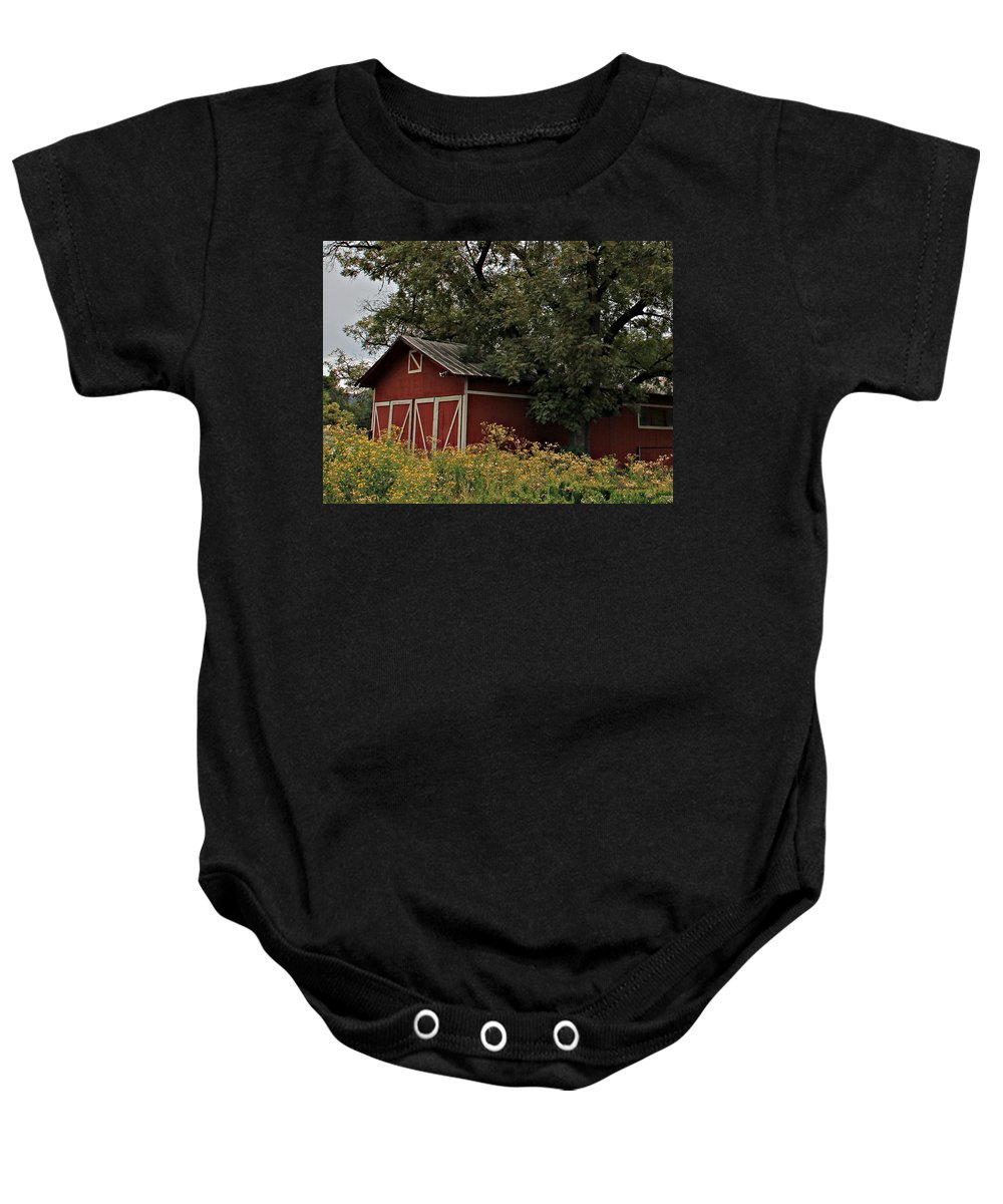 Baby Onesie featuring the photograph Pine Barn by Matalyn Gardner