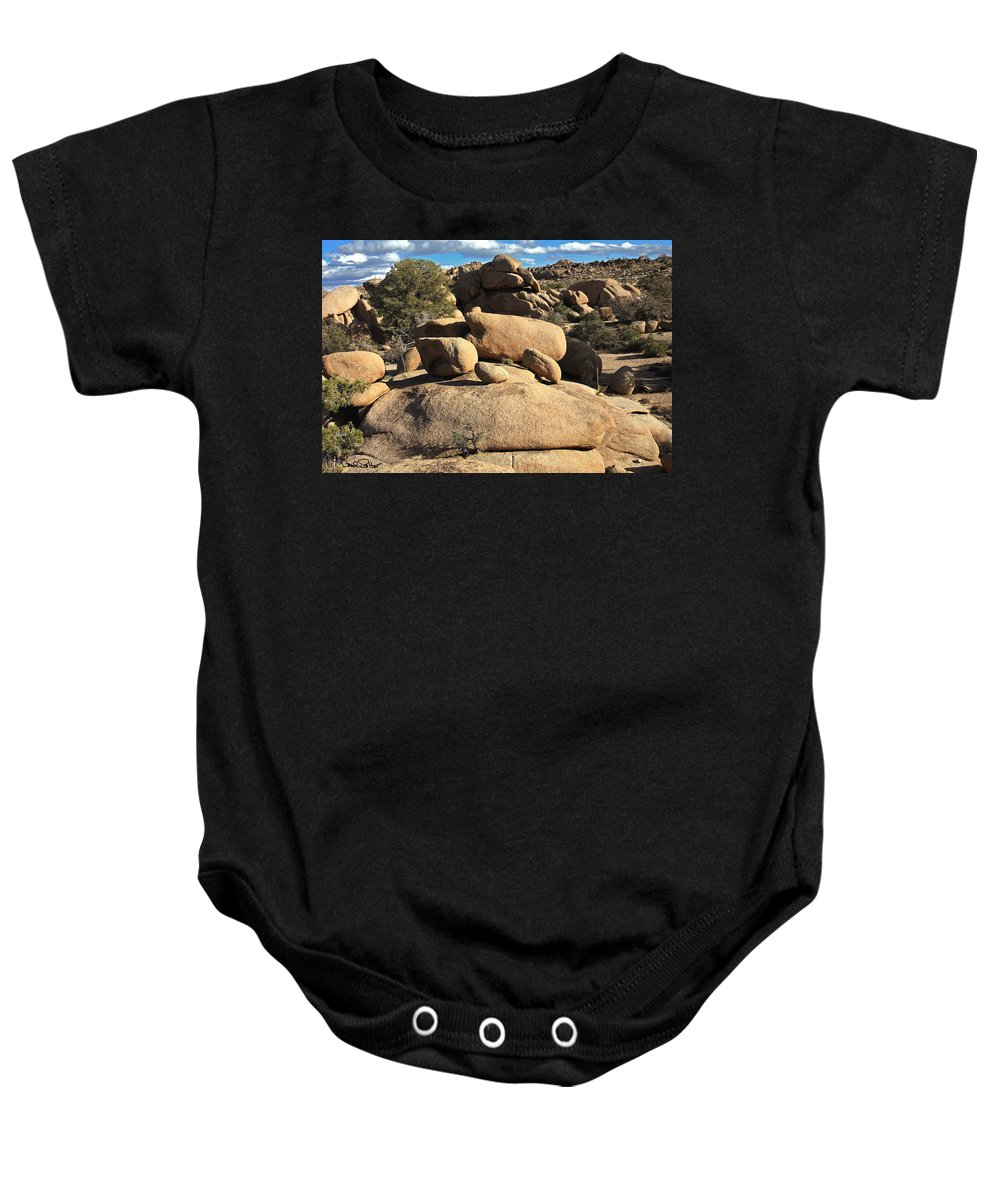 Joshua Tree National Park Landscape Baby Onesie featuring the photograph Pine City Boulders by David Salter