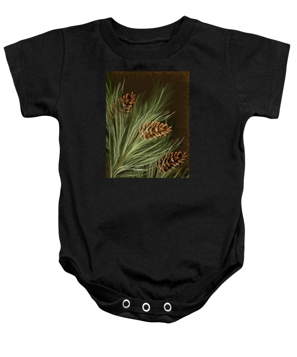 Pine Baby Onesie featuring the painting Pine by Veronica Minozzi