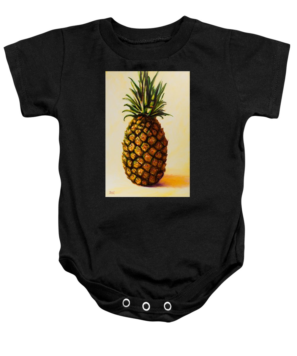 Pineapple Baby Onesie featuring the painting Pineapple Angel by Shannon Grissom