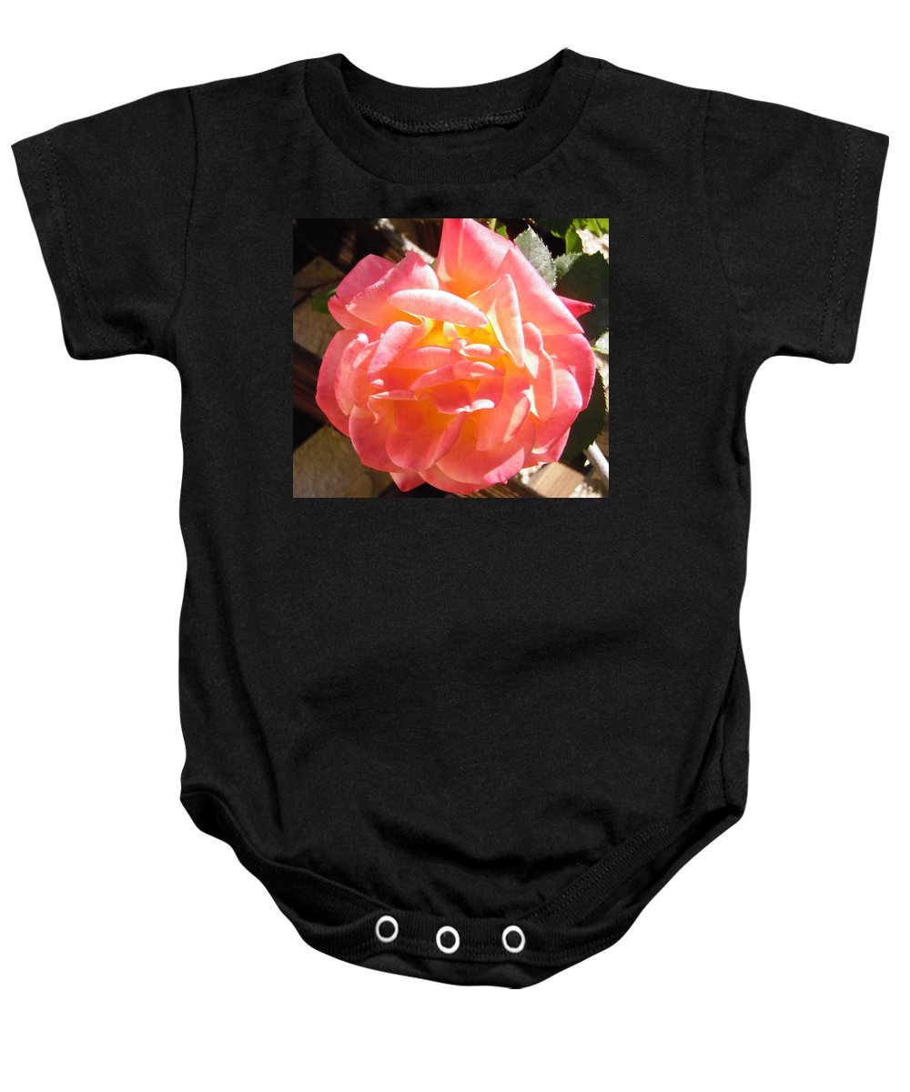 Rose Baby Onesie featuring the photograph Pink And Yellow Rose by Stephanie Moore