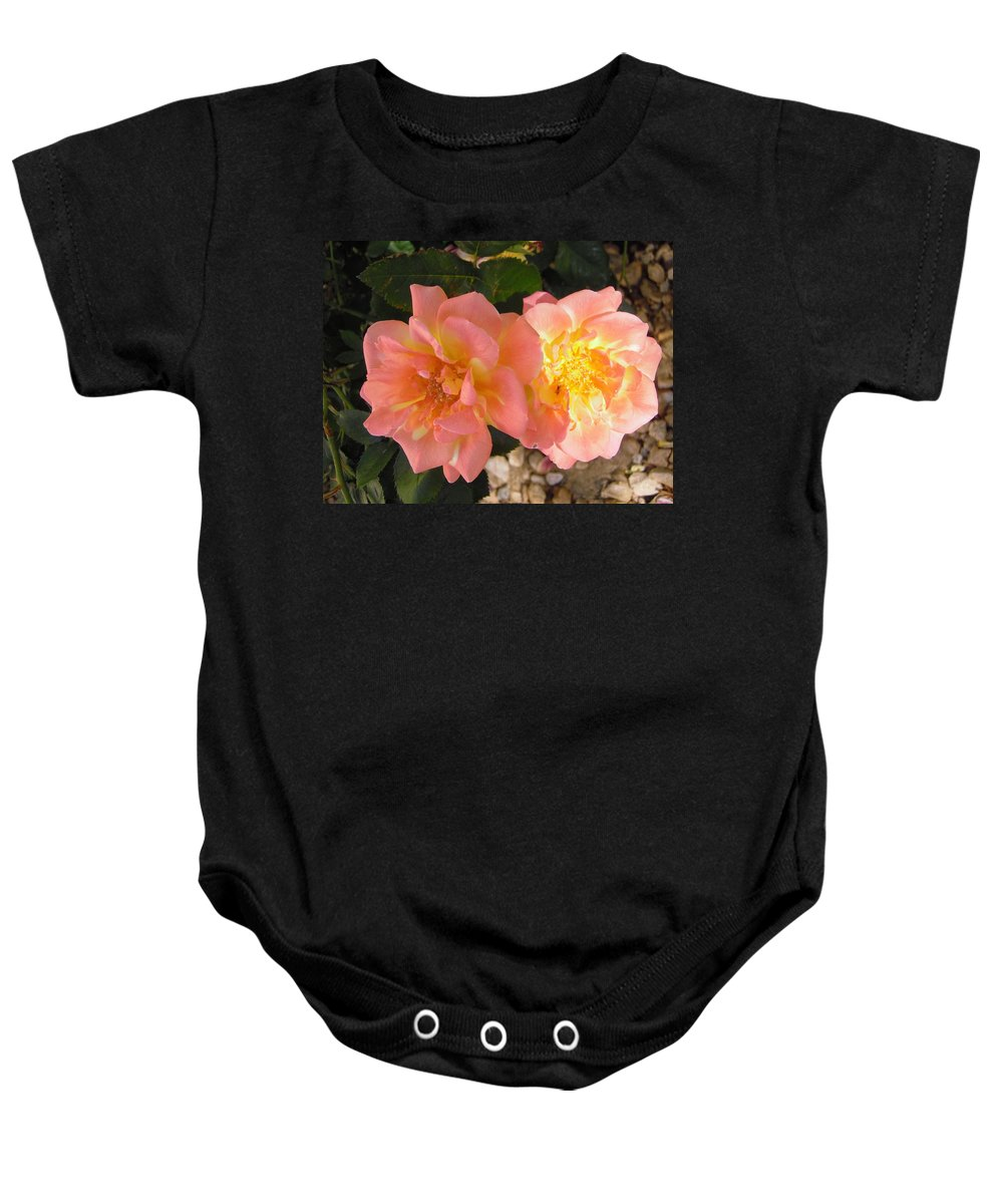 Flowers Baby Onesie featuring the photograph Pink And Yellow Roses by Stephanie Moore