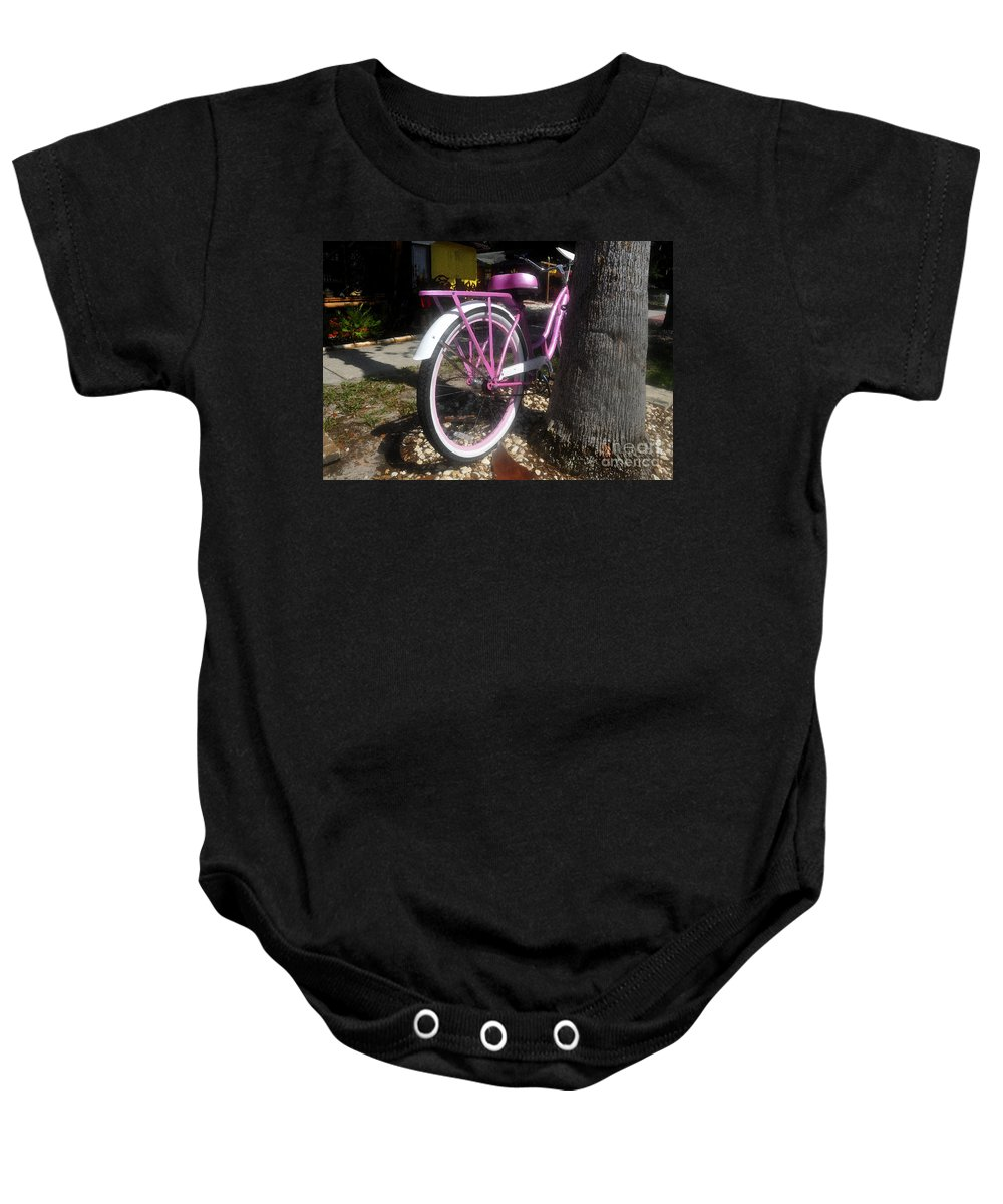 Pink Baby Onesie featuring the painting Pink Bicycle by David Lee Thompson