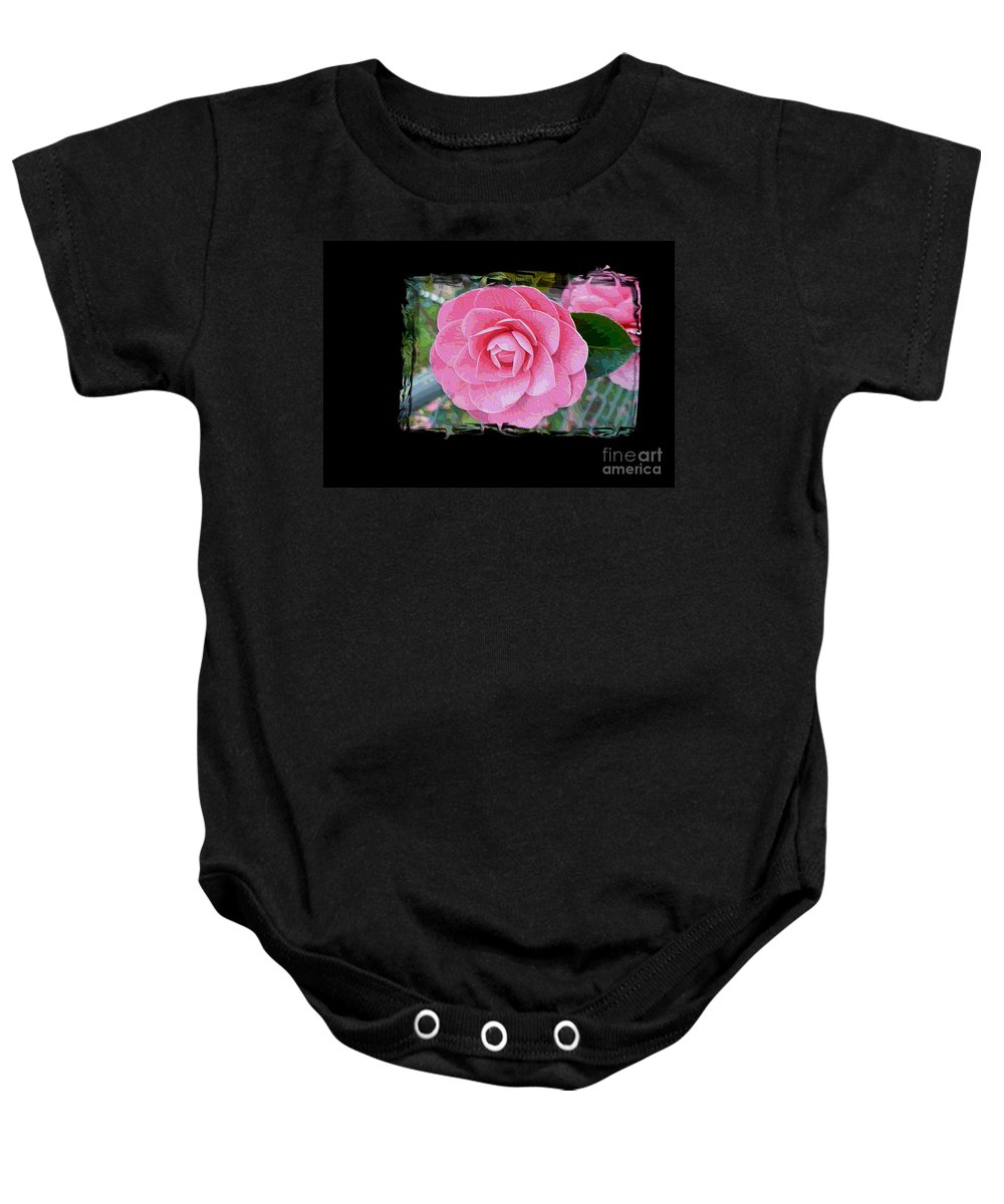 Pink Camelllias Baby Onesie featuring the photograph Pink Camellias With Fence And Framing by Carol Groenen