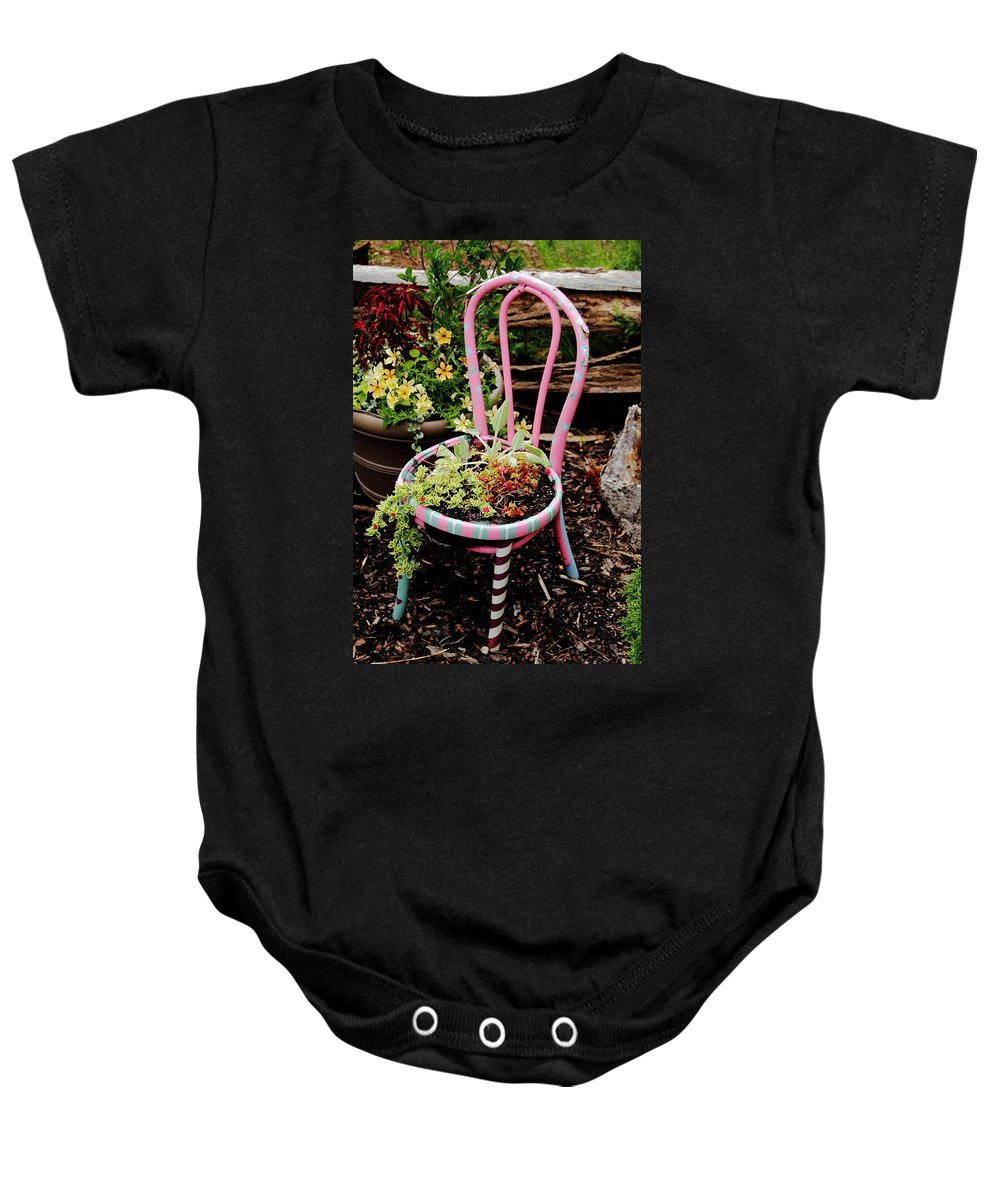 Chair Baby Onesie featuring the photograph Pink Chair Planter by Allen Nice-Webb