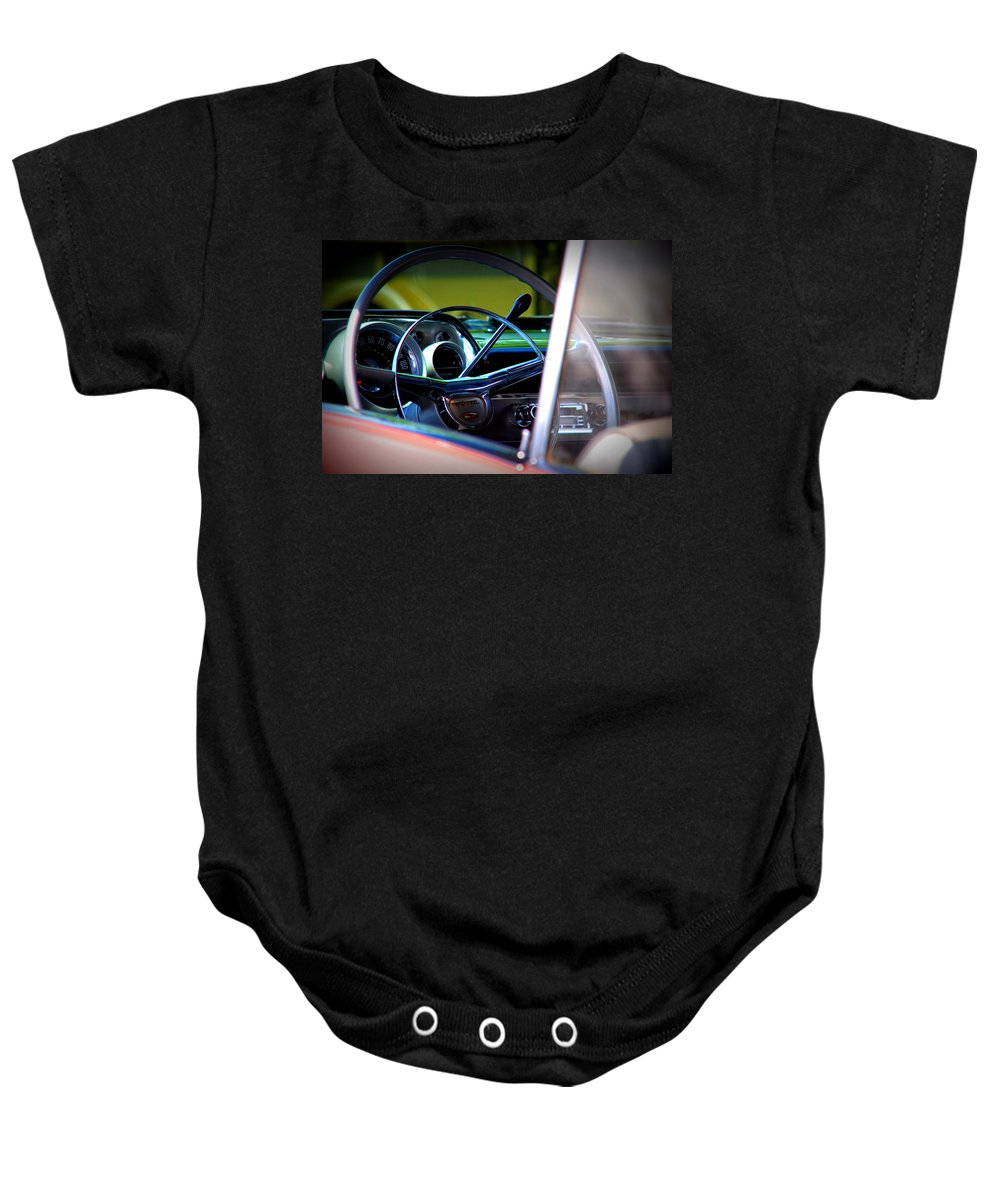 Old American Cars Baby Onesie featuring the photograph Pink Chevy by Susanne Van Hulst