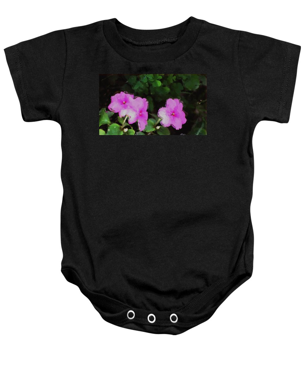 Digital Photograph Baby Onesie featuring the photograph Pink Floral Watercolor by David Lane