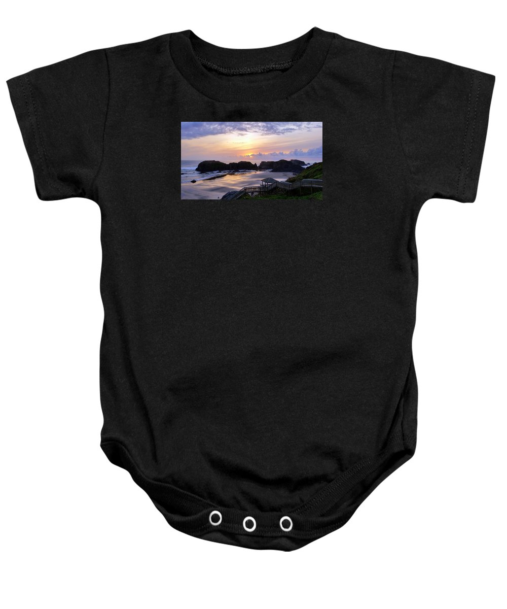 Sunset Baby Onesie featuring the photograph Pink Pastel Sunset by Mina Thompson