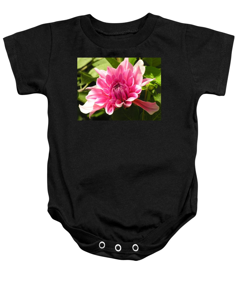 Pink Baby Onesie featuring the photograph Pink Pedals by Diane Greco-Lesser
