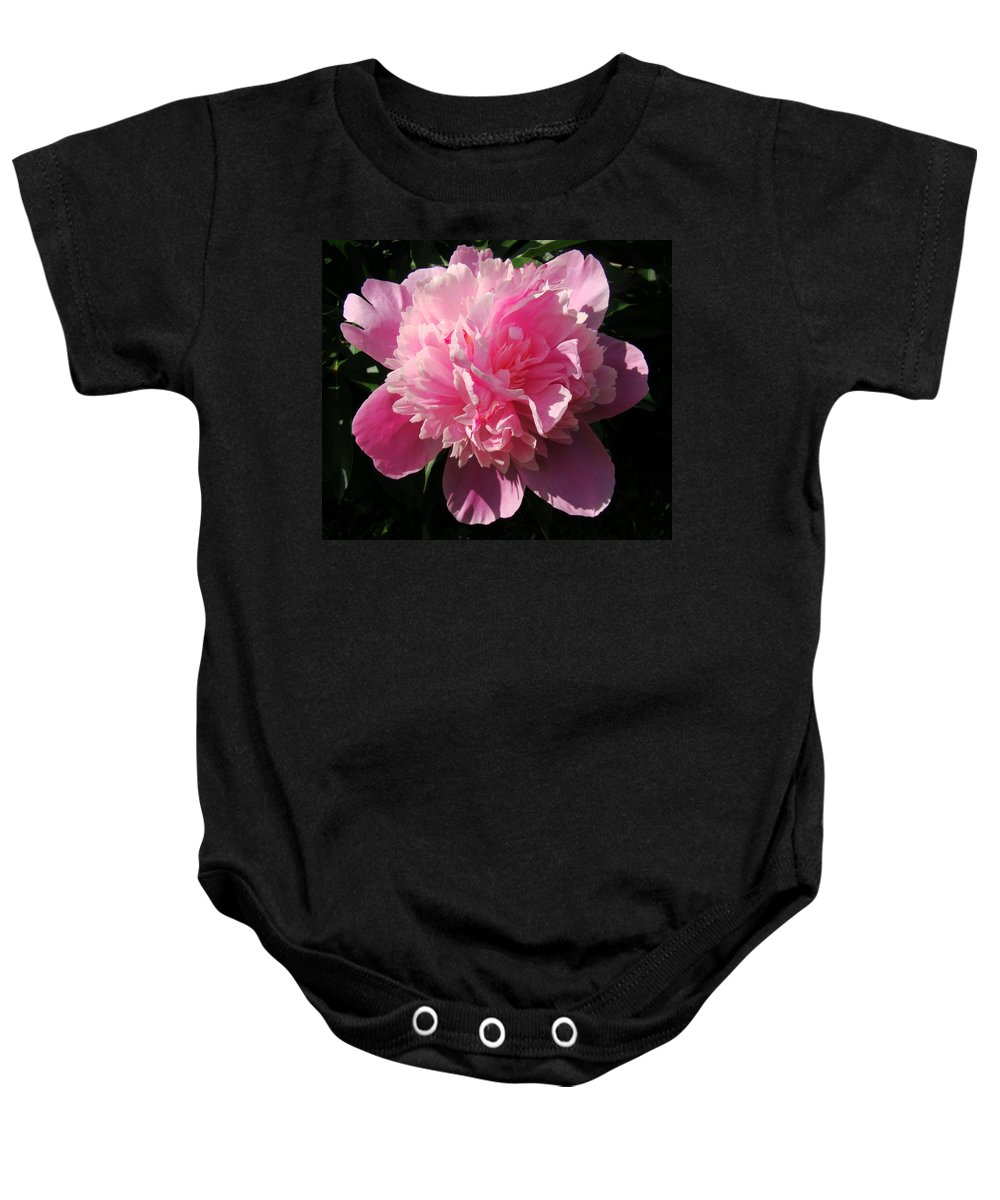 Flowers Baby Onesie featuring the photograph Pink Peony by Sandy Keeton