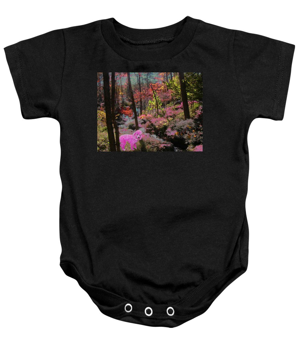 Pink Poodle Baby Onesie featuring the photograph Pink Poodle Paradise by Anne Cameron Cutri