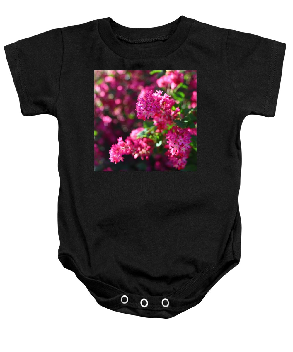 Flowering Currant Baby Onesie featuring the photograph Pink Profusion 1 by Mo Barton