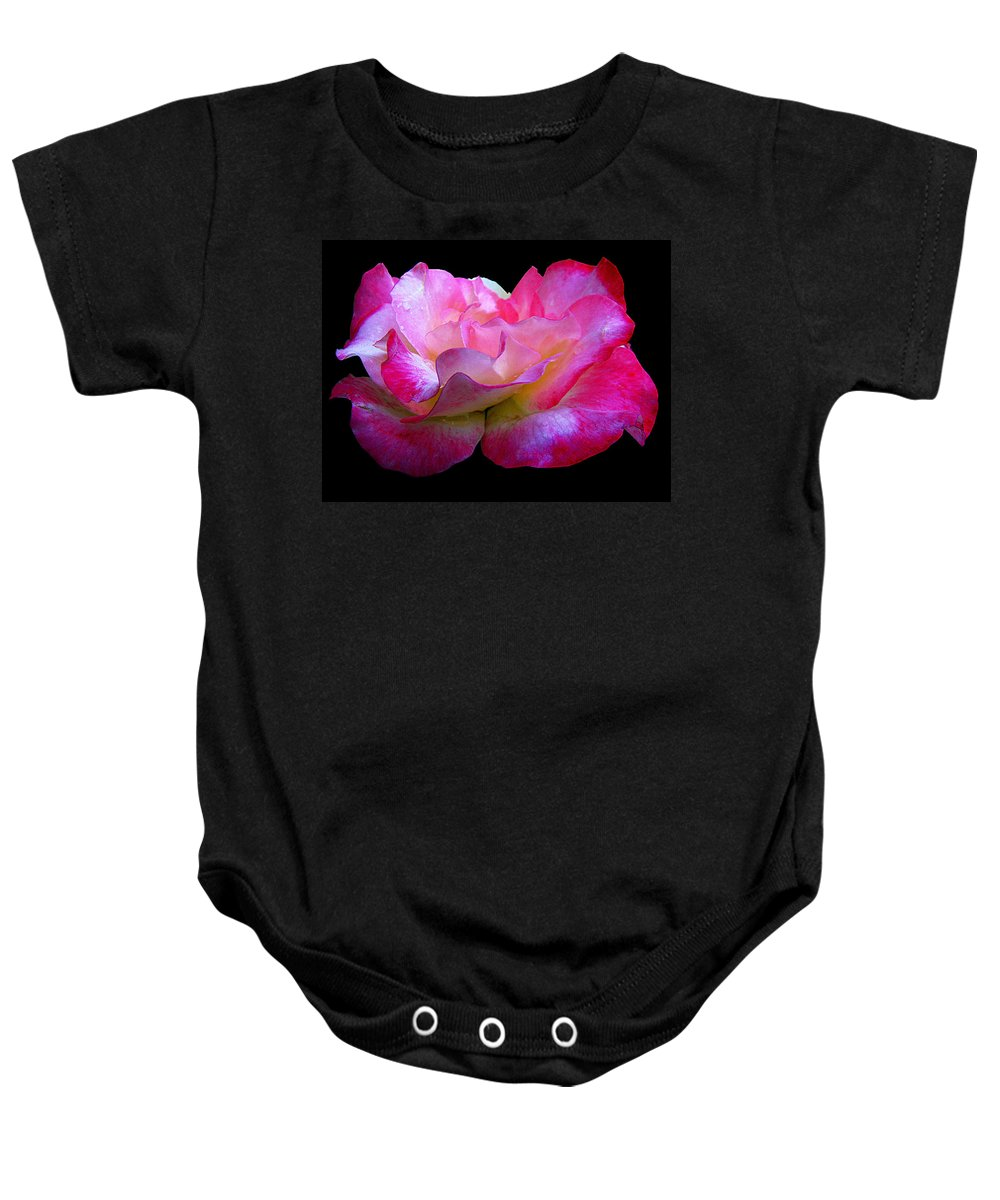 Rose Baby Onesie featuring the photograph Pink Rose On Black 4 by J M Farris Photography