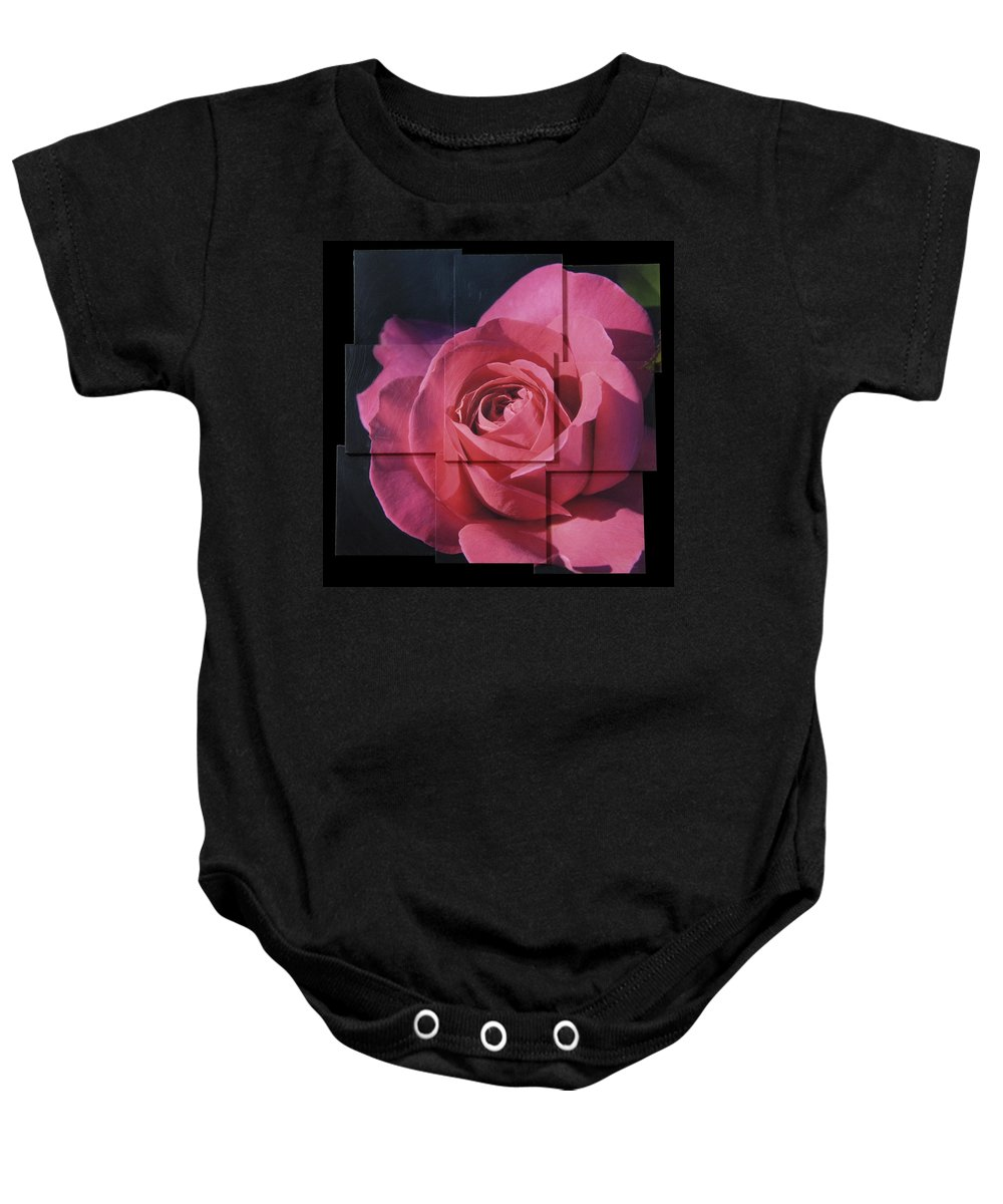 Rose Baby Onesie featuring the sculpture Pink Rose Photo Sculpture by Michael Bessler