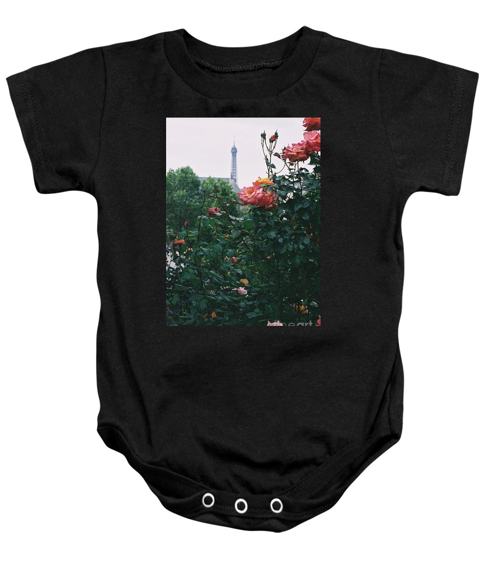 Roses Baby Onesie featuring the photograph Pink Roses and The Eiffel Tower by Nadine Rippelmeyer