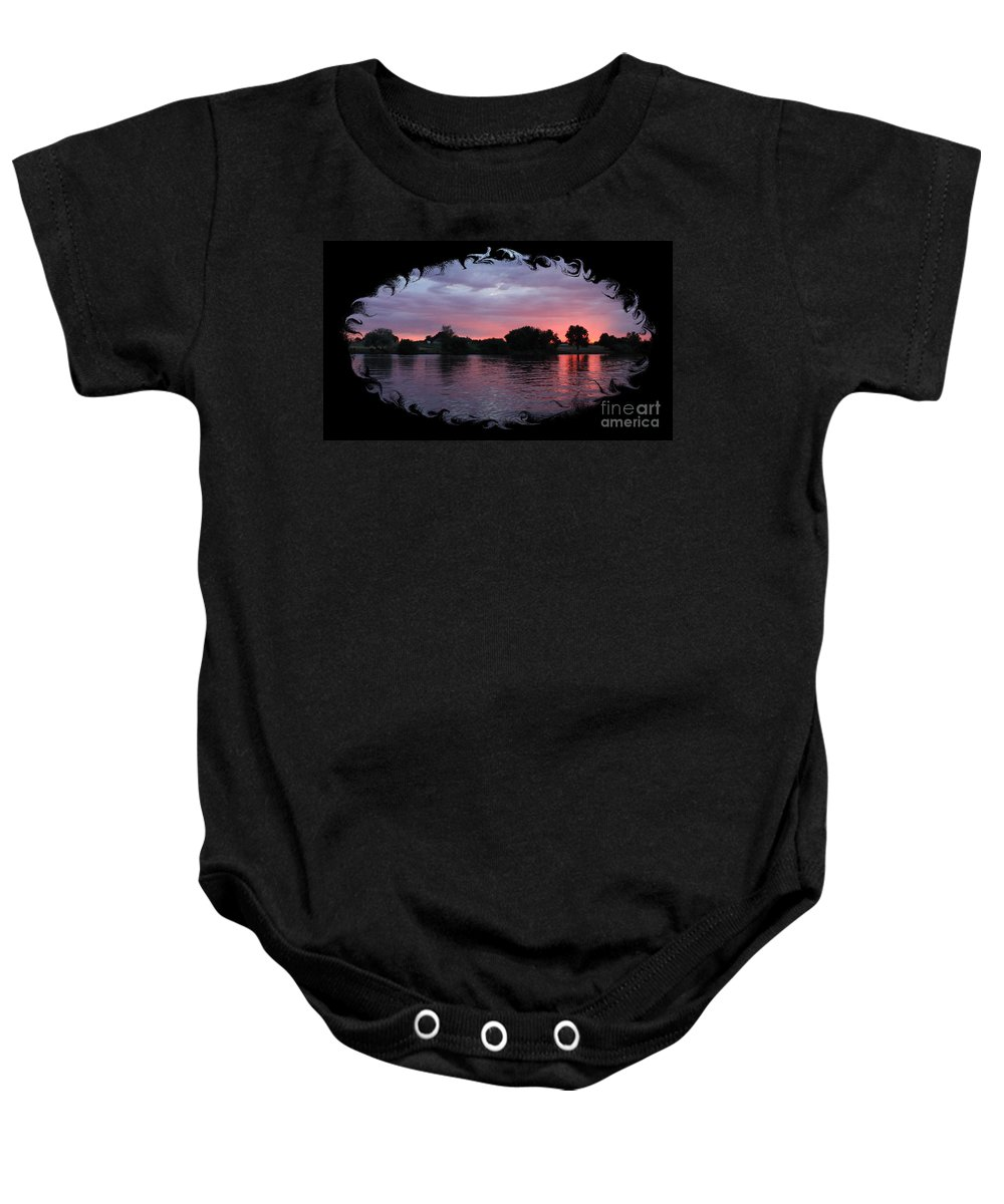 Sunset Baby Onesie featuring the photograph Pink Sunset Panorama With Black Framing by Carol Groenen