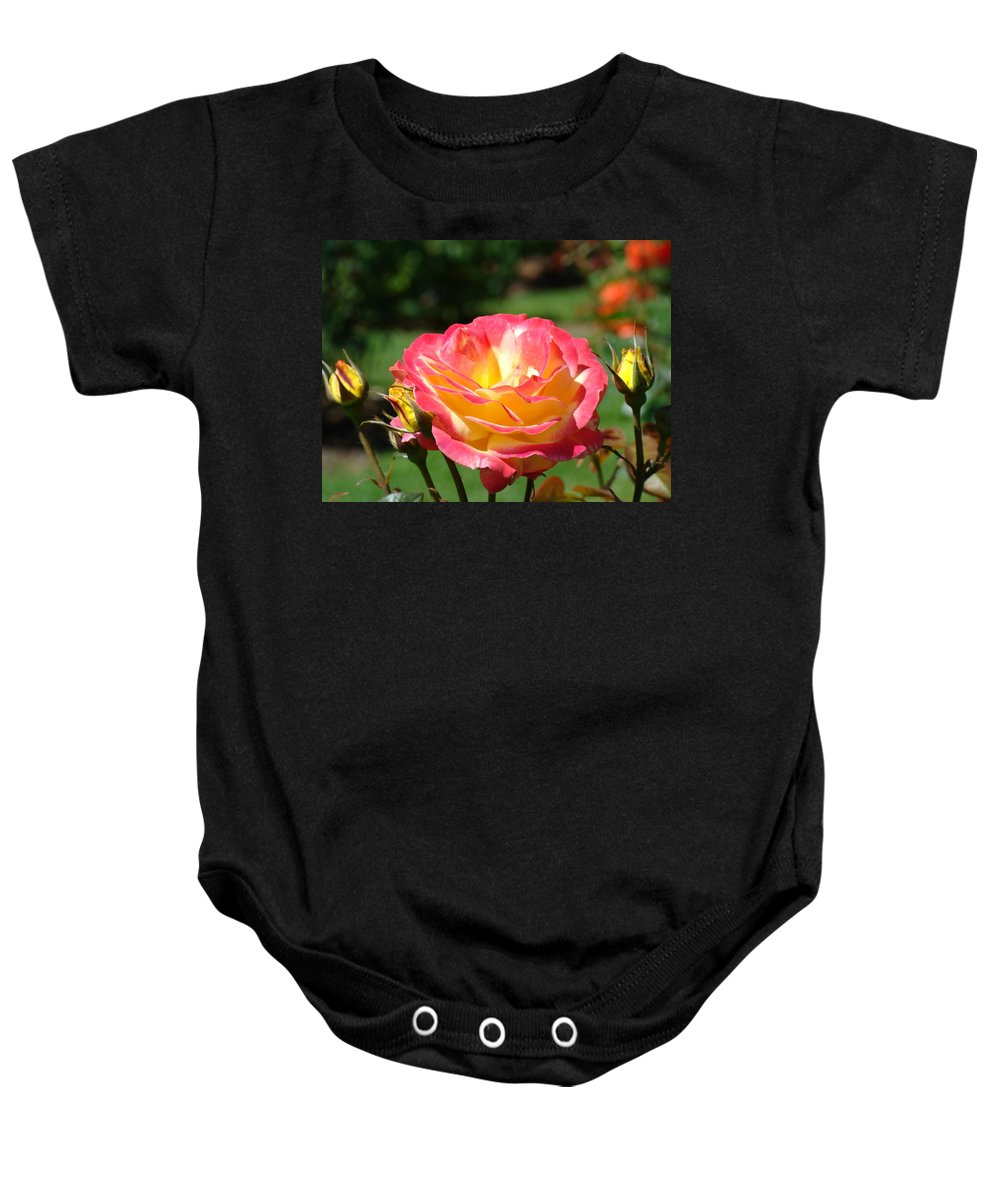 Rose Baby Onesie featuring the photograph Pink Yellow Roses 3 Summer Rose Garden Giclee Art Prints Baslee Troutman by Baslee Troutman