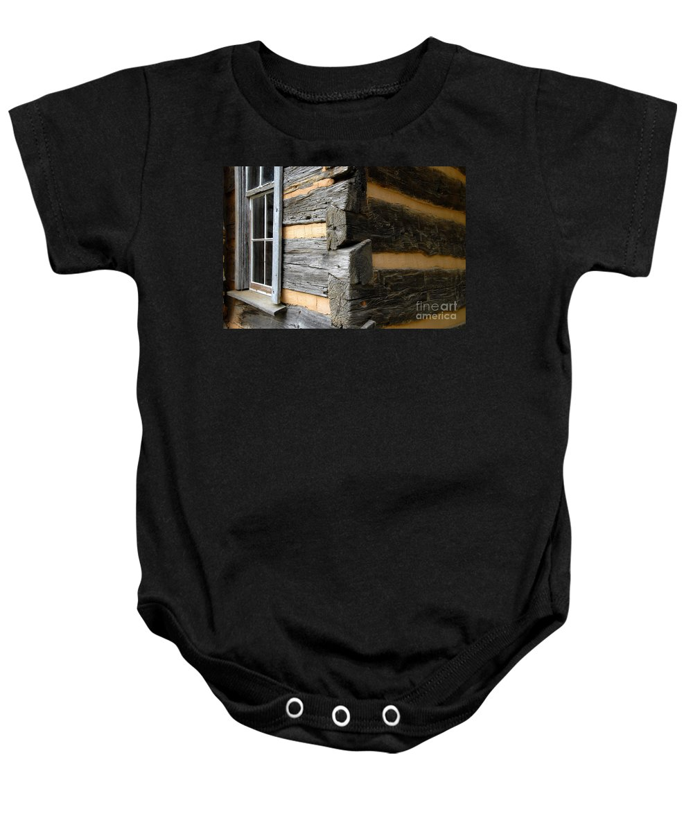 Cabin Baby Onesie featuring the photograph Pioneer Craftsmanship by David Lee Thompson