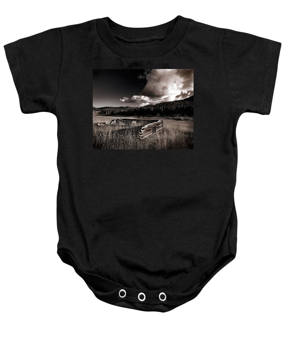 Cabin Baby Onesie featuring the photograph Pioneer History by Leland D Howard