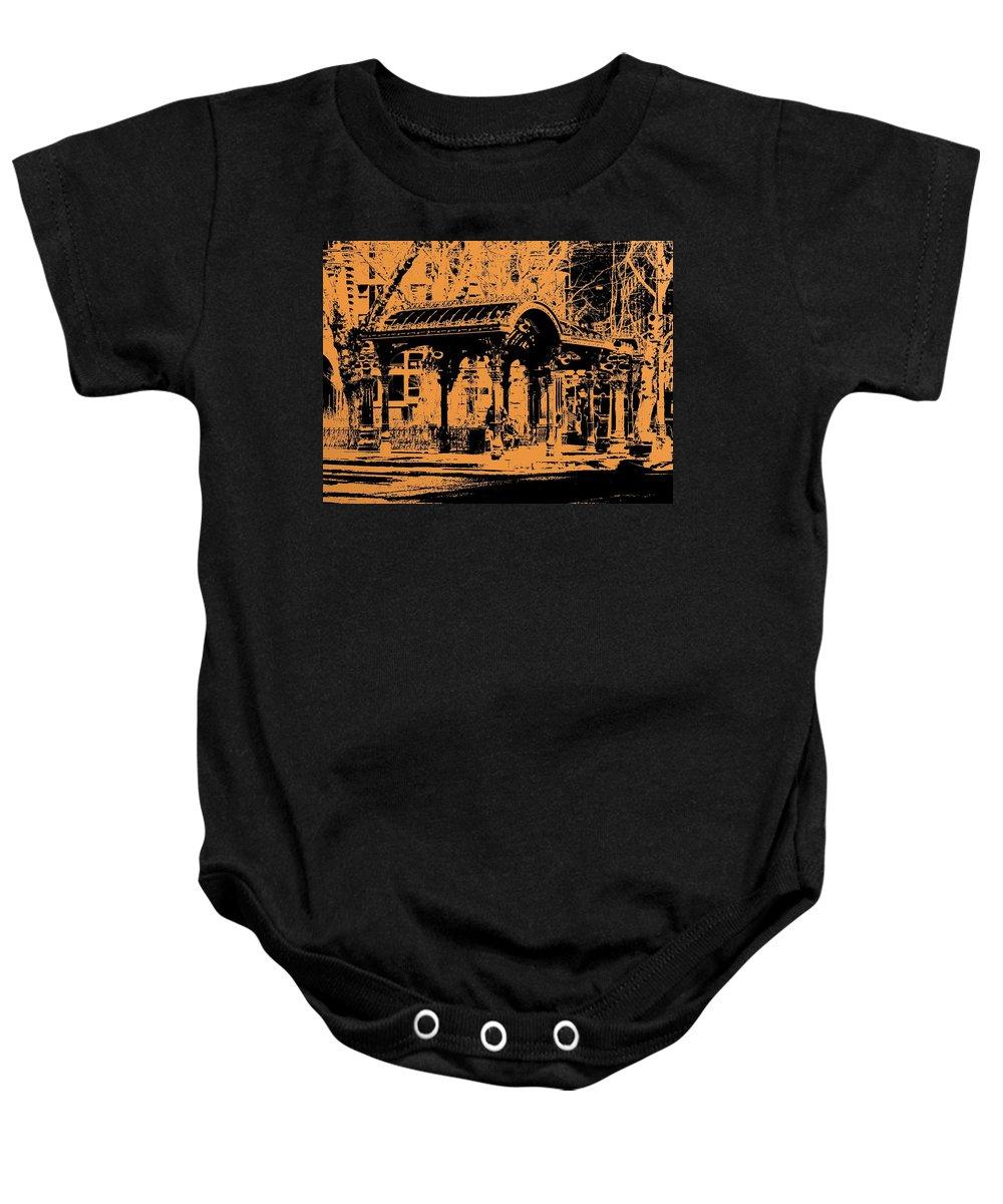 Seattle Baby Onesie featuring the digital art Pioneer Square Pergola by Tim Allen