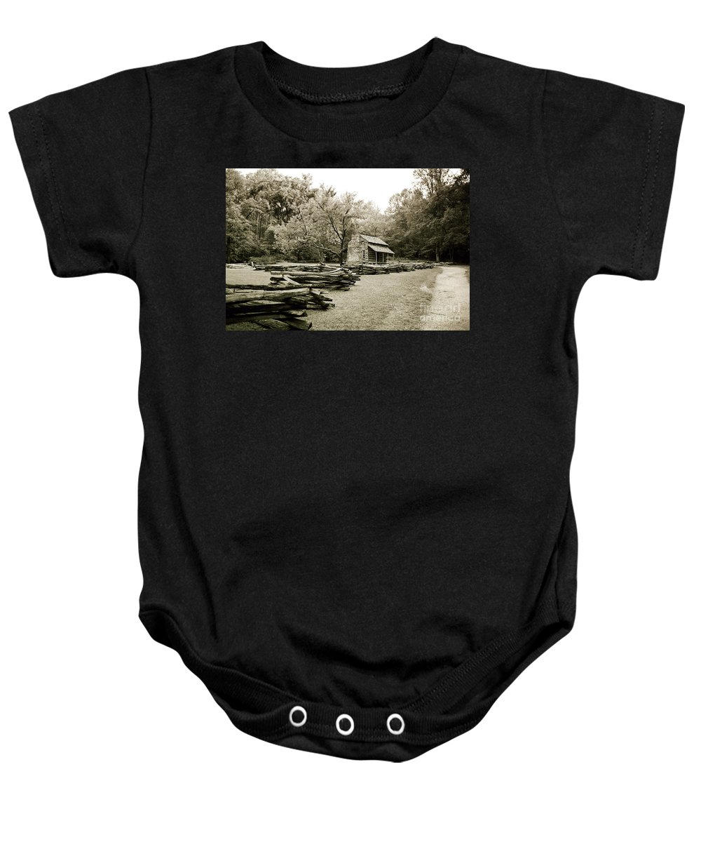 Cabin Baby Onesie featuring the photograph Pioneers Cabin by Scott Pellegrin