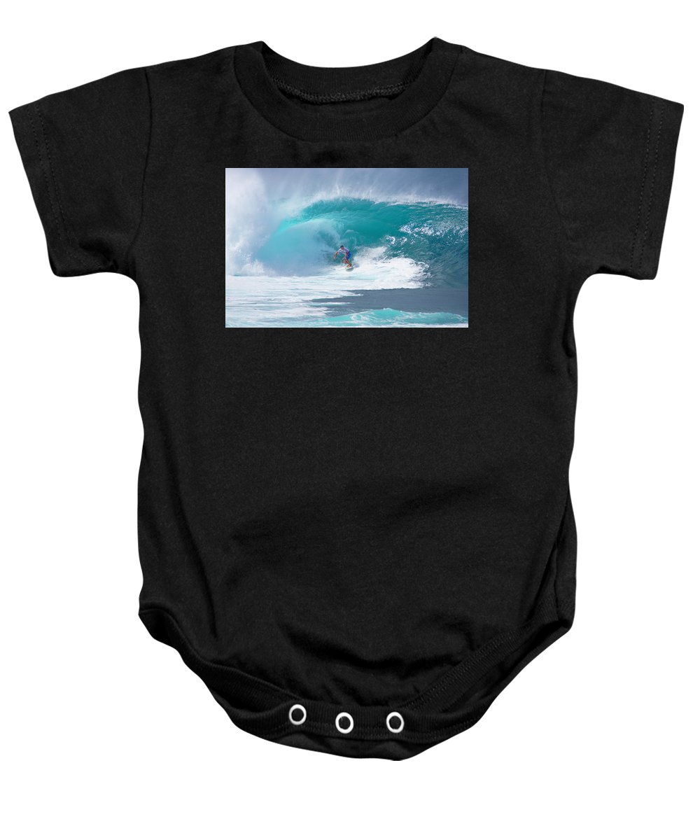Hawaii Baby Onesie featuring the photograph Pipeline's Reef by Kevin Smith