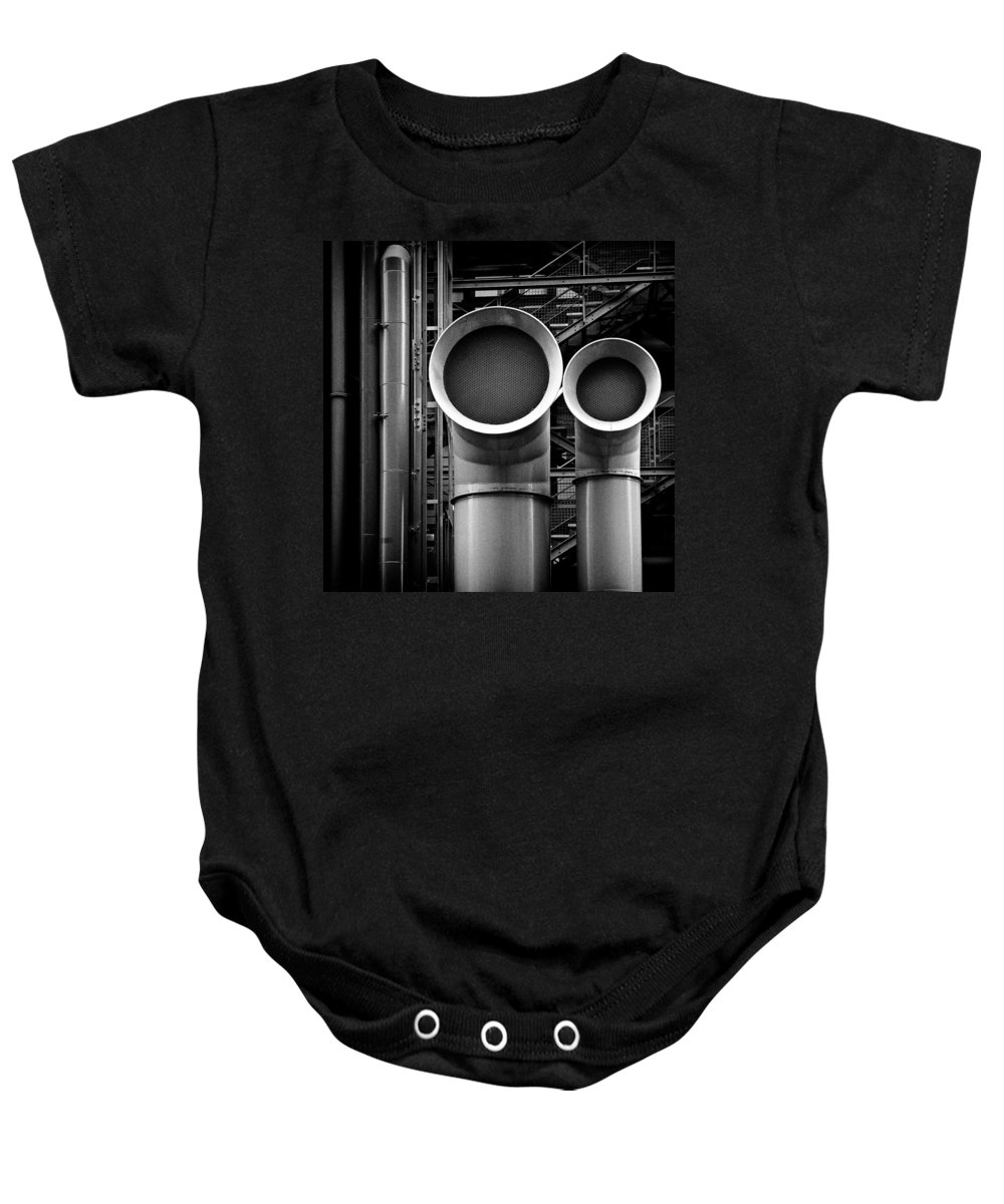 Industry Baby Onesie featuring the photograph Pipes by Dave Bowman