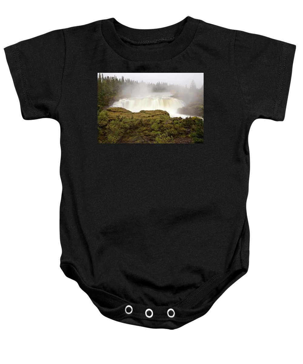 Water Baby Onesie featuring the digital art Pisew Falls Northern Manitoba Canada by Mark Duffy