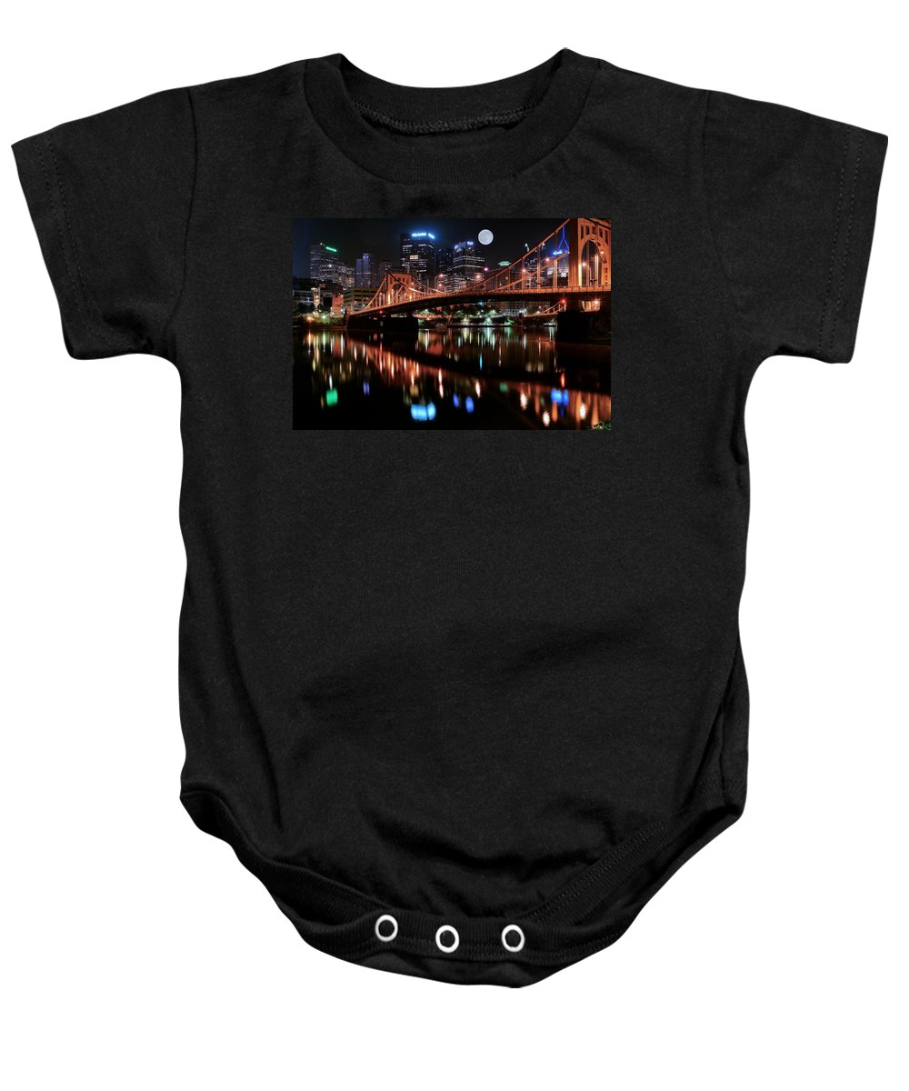 Pittsburgh Baby Onesie featuring the photograph Pittsburgh Full Moon by Frozen in Time Fine Art Photography