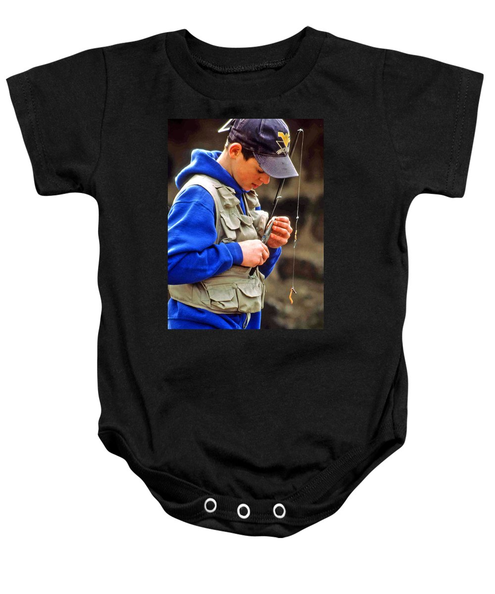 Boy Fishing Baby Onesie featuring the photograph Plan To Succeed by Laurie Paci