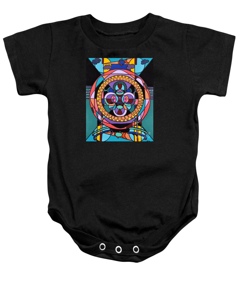 Surreal - Dream Works-mandala Baby Onesie featuring the painting Planet Earth by Reb Frost