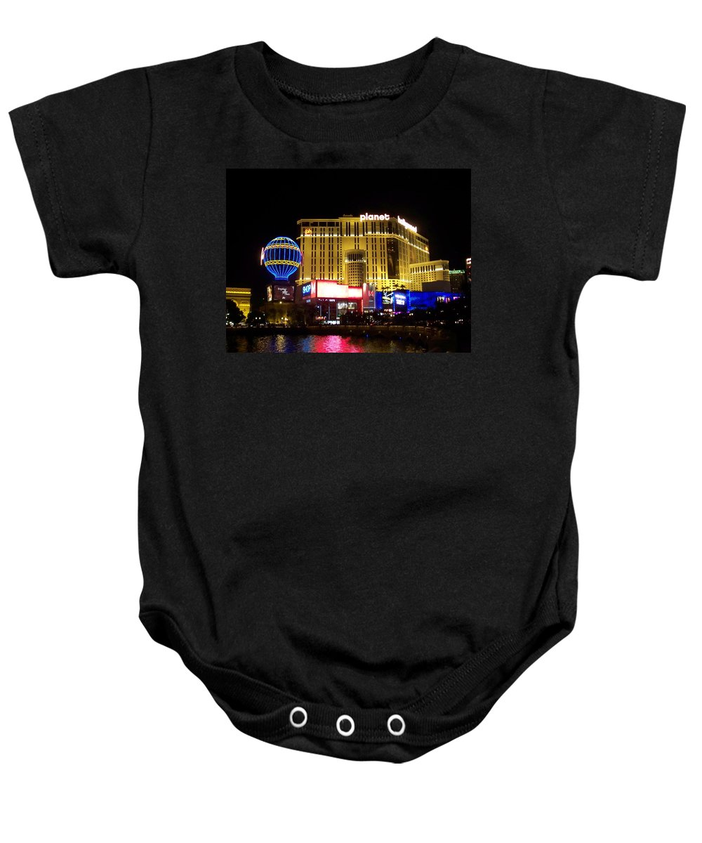 Vegas Baby Onesie featuring the photograph Planet Hollywood By Night by Anita Burgermeister
