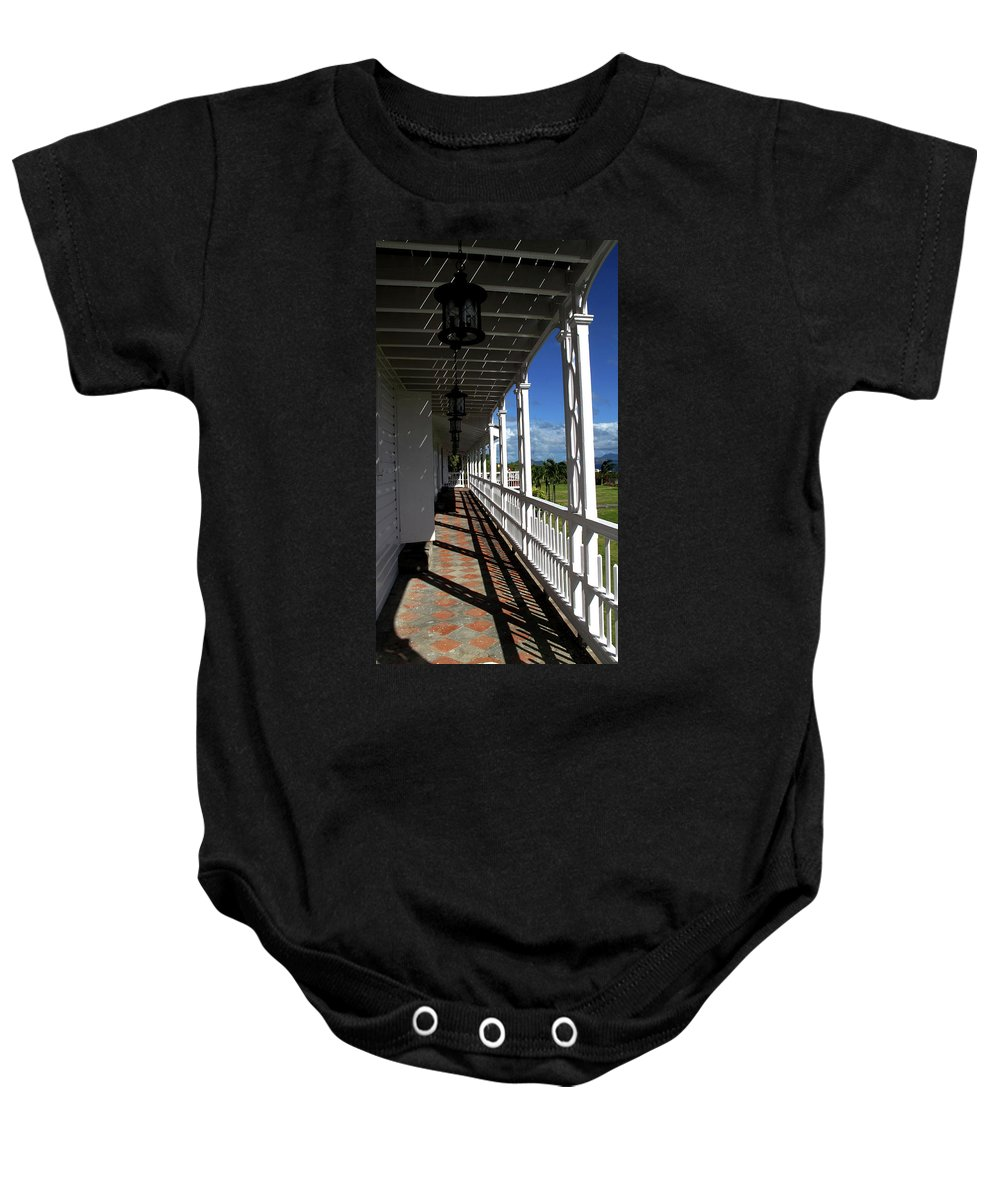 Porch Baby Onesie featuring the photograph Plantation Porch by Ian MacDonald