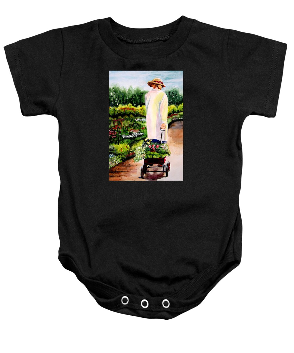 Garden Baby Onesie featuring the painting Planting Plans by Karen Stark