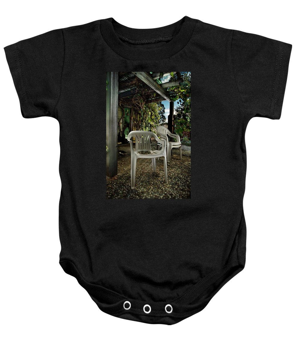 Paint Baby Onesie featuring the photograph Plastic Chairs by Yo Pedro