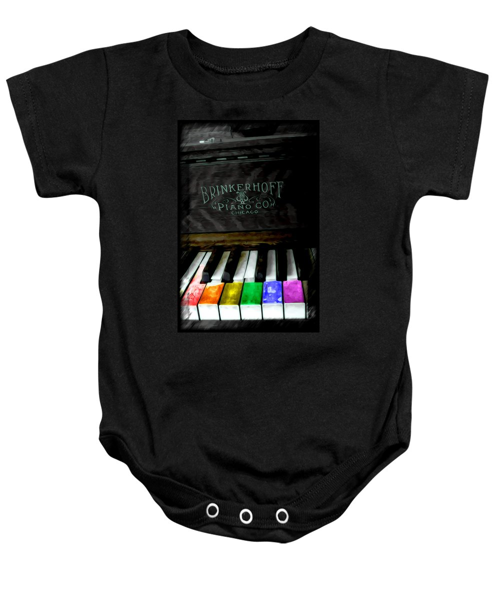 Piano Baby Onesie featuring the painting Play Me A Song by Adam Vance