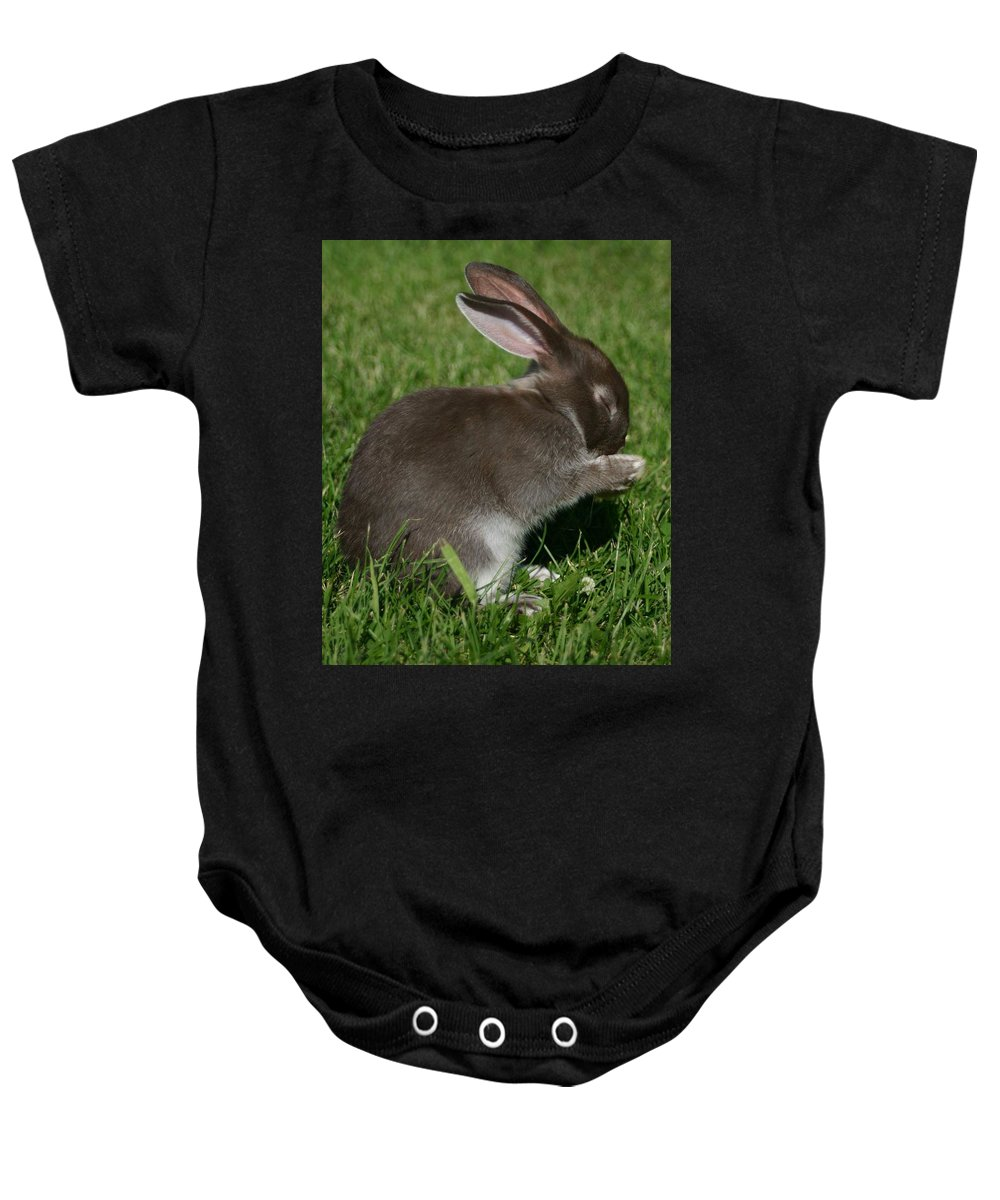 Bunny Baby Onesie featuring the photograph Please Carrots For Dinner by Melissa Haney