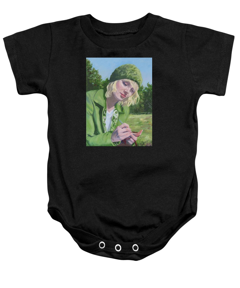 Figurative Baby Onesie featuring the painting Plein Air Crocheting by Connie Schaertl