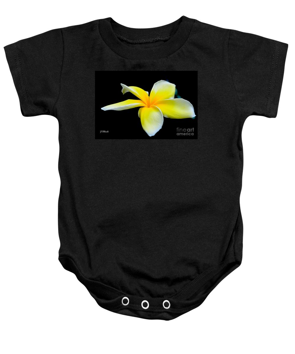 Plumeria In Yellow Baby Onesie featuring the photograph Plumeria In Yellow by Jeannie Rhode