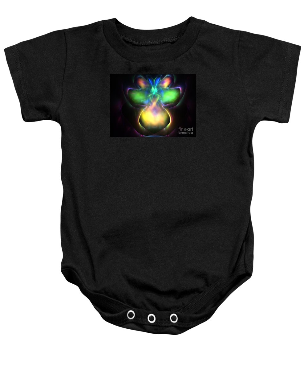 Apophysis Baby Onesie featuring the digital art Pluto Firefly by Kim Sy Ok