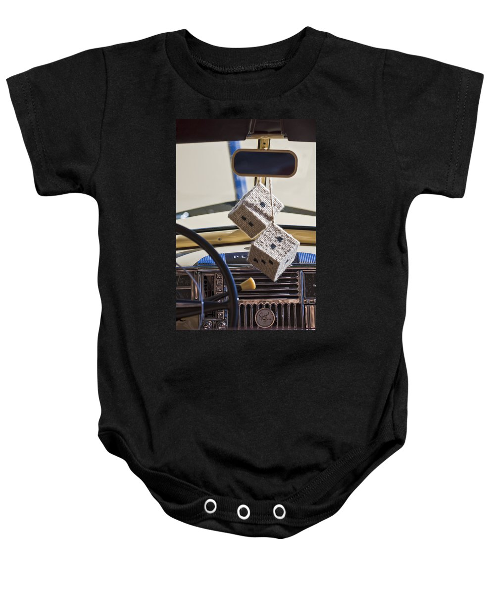 Plymouth Special Deluxe Baby Onesie featuring the photograph Plymouth Special Deluxe Dice by Jill Reger