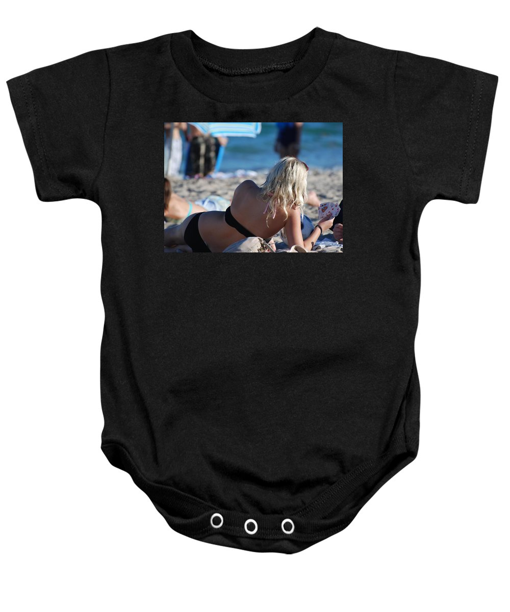 Cards Baby Onesie featuring the photograph Poker At The Beach by Rob Hans