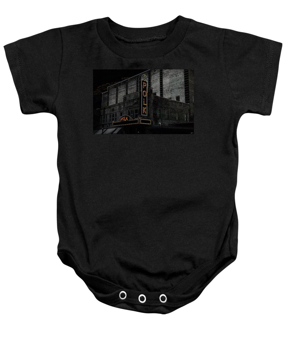Art Baby Onesie featuring the painting Polk Movie House by David Lee Thompson