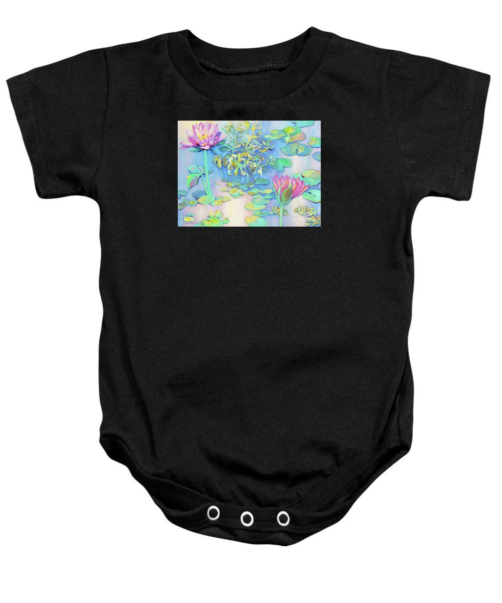 Top Artist Baby Onesie featuring the painting Pond 10 by Sharon Nelson-Bianco