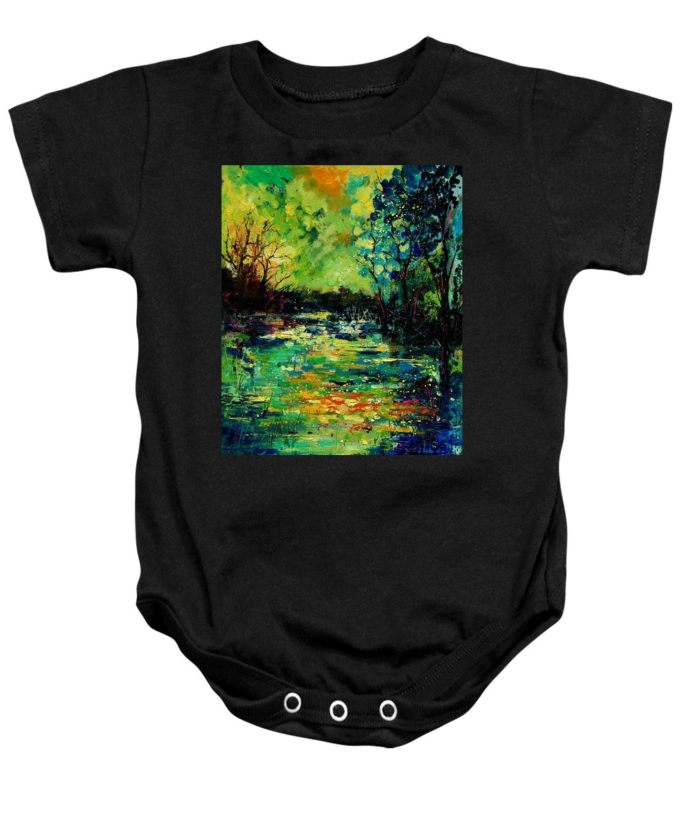 Pond Baby Onesie featuring the painting Pond 560120 by Pol Ledent
