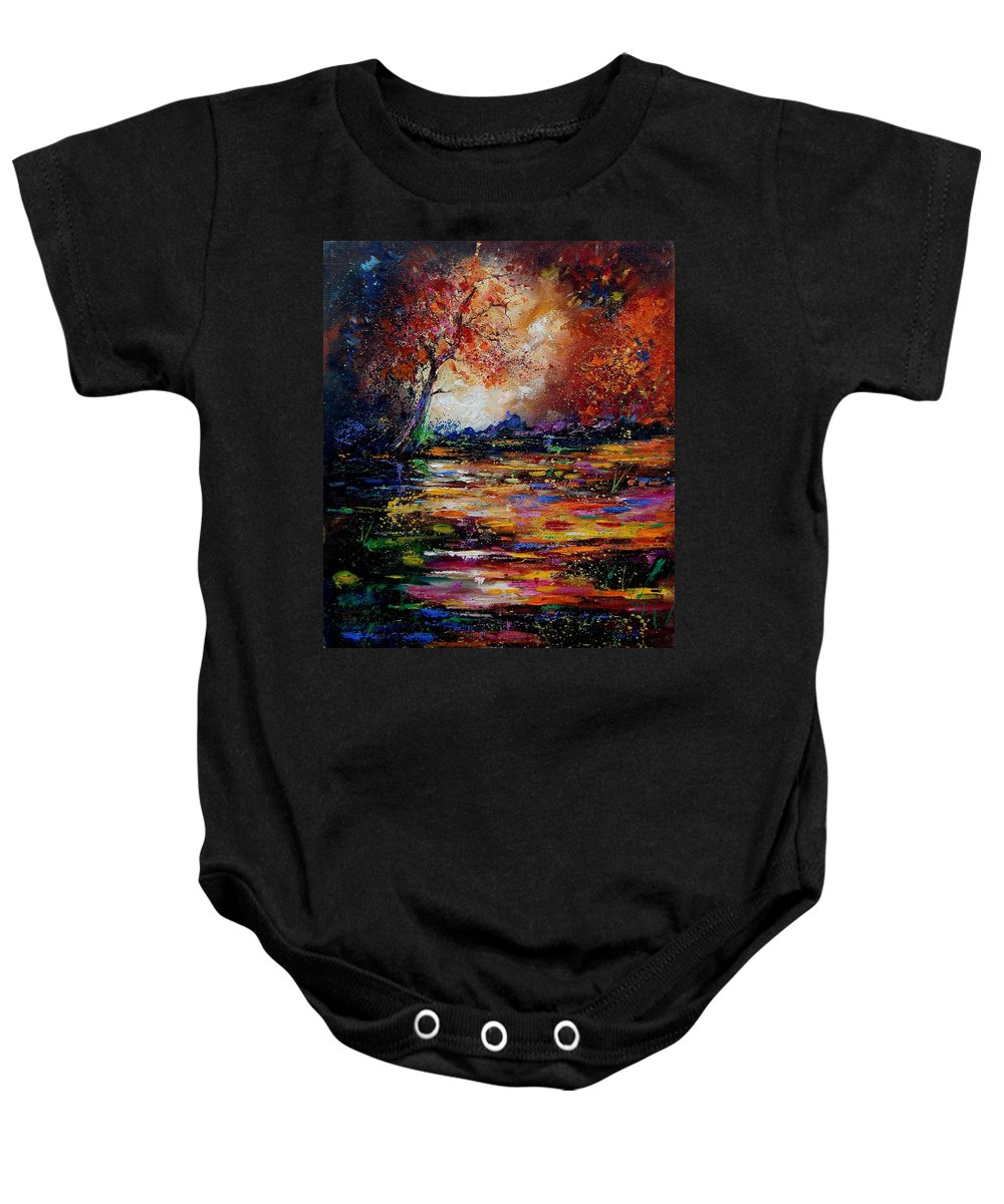 River Baby Onesie featuring the painting Pond 671254 by Pol Ledent