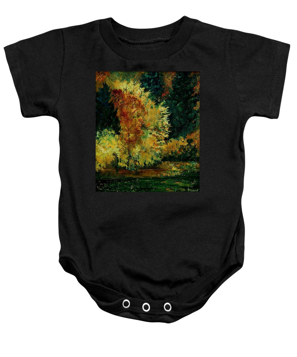 Landscape Baby Onesie featuring the painting Pond In Fenffe by Pol Ledent