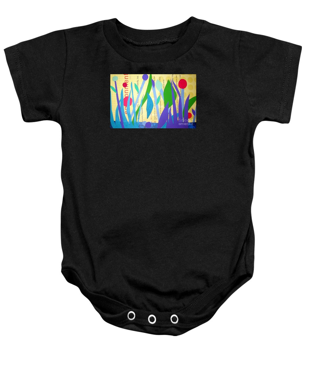 Landscape Baby Onesie featuring the mixed media Pond Life by Debra Bretton Robinson
